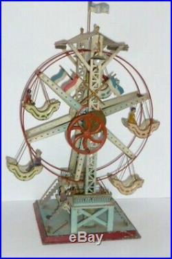 Old Carl Doll Ferris Wheel Tin Toy Carousel Steam Engine Drive Model
