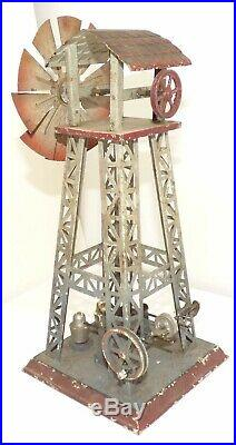 Old Steam Engine Windmill tin toy selling as is Very nice Must See