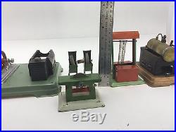 Rare Vtg Toy Steam Engine Lot With Sawmill Table Saw Grinder Wood Shop Germany