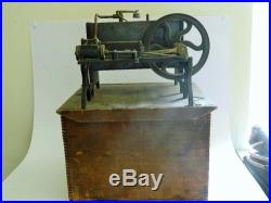 Rare Antique Unmarked Live Steam Engine And Boiler Original Wood Crate French
