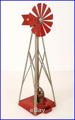 Rare Vtg 1940's Empire Tin Toy Steam Engine B-36/36 WINDMILL w WATER PUMP XLNT