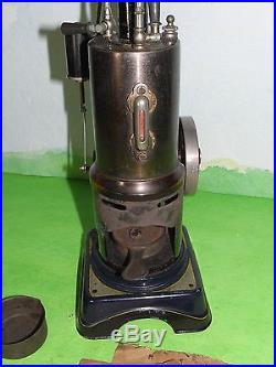 Rare antique bing vertical steam engine & box parts & paperwork collectable toy