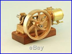 Single cylinder horizontal model steam engine spoked flywheel