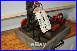 Two (2) Vintage Steam Engines Original Plant 14-1/2 by 12-1/2 Base Antique Old