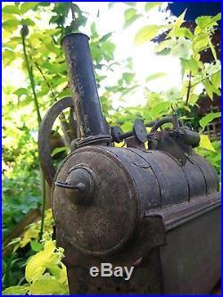 Unusual Antique 1860s Handmade American Overtype Tin & Brass Live Steam Engine
