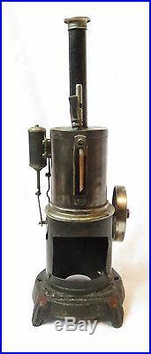 VINTAGE JOSEF FALK VERTICAL LINE WHEEL TOY STEAM ENGINE MARKED JF 524 GERMANY