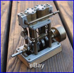 VINTAGE Vertical Two Cylinder Saito Live Steam Engine Maritime Steam Boat Stuart