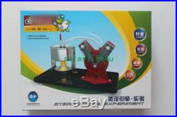 V-type Mini Hot Live Steam Engine Twin Cylinder Model Education Toy Kits EK-D029