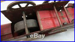 Very old & rare heavy pressed steel railroad toy / steam engine & coal car 1890