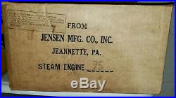 Vintage 1976 JENSEN MFG CO Steam Engine #75 with Original Box & Dry Fuel Pellets