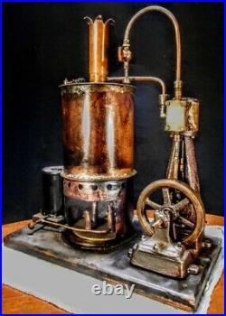 Vintage Antique Early Cast Iron Old Steam Engine & Boiler Model hit miss motor