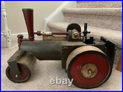 Vintage Antique Heavy Steam Engine Road Roller Solid Wooden Steam Punk