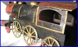 Vintage Antique Pressed Steel Train Locomotive Steam Engine Floor Toy 16 1908