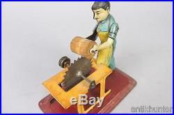 Vintage BING man on saw, steam engine accessory, pre war german tin toy