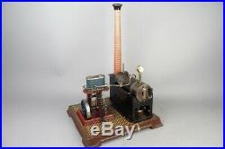 Vintage BING vertical cylinder live steam engine, tin toy prewar