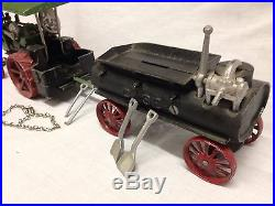Vintage Case Steam engine tractor & water wagon by Irwin's Model Shop, aluminium