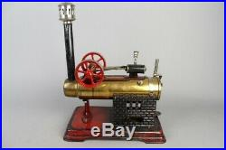 Vintage DOLL D&C locomobile live steam engine, prewar tin toy 8in