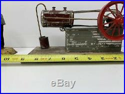 Vintage Fleischmann Tin Toy Windup Steam Engine and Tin Bucksaw