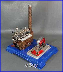 Vintage German Wilesco D8 Stationary Horizontal Live Steam Engine Model Tin Toy
