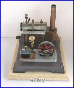 Vintage Horizontal Wilesco D-10 live steam engine Grey base (d)