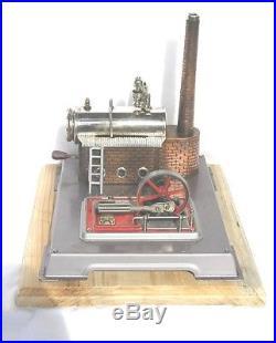 Vintage Horizontal Wilesco D-12 live steam engine, grey base (b)