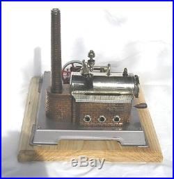 Vintage Horizontal Wilesco D-12 live steam engine, grey base (b)