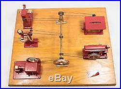 Vintage Jensen Mfg Metal Toy Steam Engine Machine Shop with Original BOX, RECEIPT