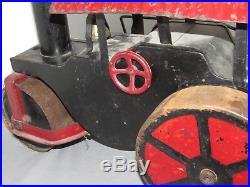 Vintage KEYSTONE Steam Engine Road Roller METAL Ride On Toy Pressed Steel RARE