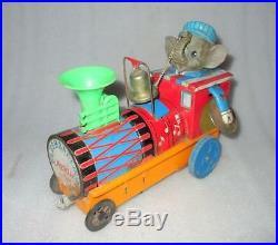 Vintage MT Trademark Elephant Steam Engine Musical Battery Litho Tin Toy Japan
