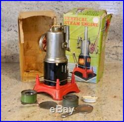 Vintage Marx Vertical Steam Engine with Buffer, Saw & Grinding Stone with Boxes