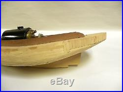 Vintage Partial Made Toy Wood Boat Model & Steam Engine Boiler (A25)