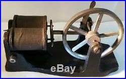 Vintage Toy Steam Engine Belt Drive Dynamo Cast Iron Base