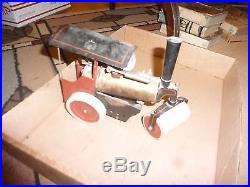 Vintage Toy Steam Engine Roller -Tin & Brass Boiler