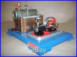 Vintage Wilesco D-10 German Toy Steam Engine Model Marine Steam Plant. Blue NR