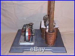 Vintage Wilesco Toy Stationary Live Steam Engine Metal w Line Set Germany