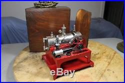 Weeden #648 Electric Heat Toy Steam Engine, Nickel Plated Boiler, Wood Carry Box