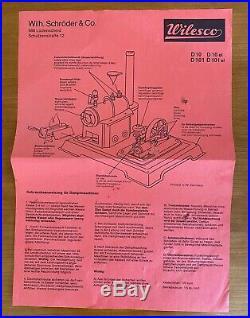WILESCO D10 STEAM ENGINE TOY Made in W. Germany (Dampfmaschine)